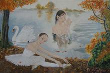 绘画《天鹅湖边的芭蕾舞者》吴玉阳作