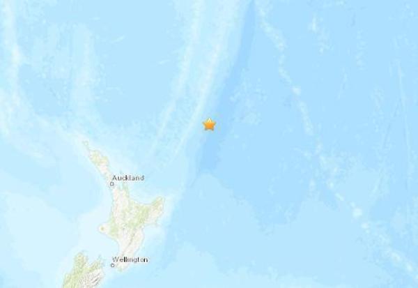 新西兰东北部海域发生5.0级地震 震源深度10公里