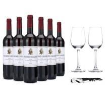 【京东超市】法国进口红酒 葛尼尔(Maurice Granier)干红葡萄酒 精品整箱装(送酒杯酒刀)750ml*6瓶