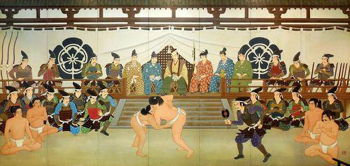 织田信长观看艺妓表演的场景