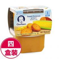 全球购 4件装美国Gerber嘉宝菜泥2段甜薯玉米混合泥226g*4(海外版)