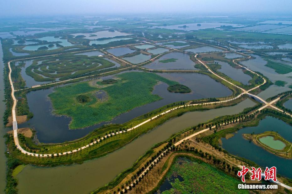 江苏淮安白马湖国家湿地公园美景初现