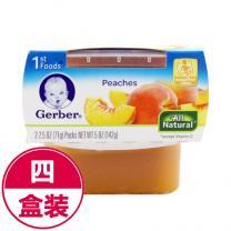全球购 4件装美国嘉宝Gerber黄桃蜜桃泥1段(4个月以上)142g/盒*4(海外版)