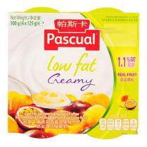 帕斯卡 PASCUAL 黄桃和西番莲果味巴氏热处理低脂酸奶 125gx4杯