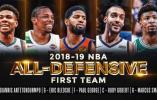 NBA公布最佳防守阵容:字母哥乔治领衔一阵 汤神格林入选二阵