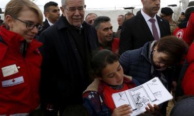 Austrian president visits refugee camp in Lebanon