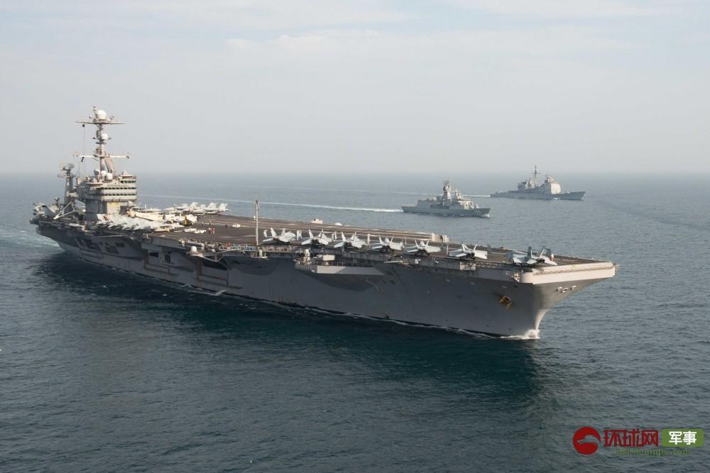 """美军航母带众""""小弟""""在伊朗家门口大搞演习"""