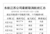 """持续受""""利奇马""""影响,今明两天东航江苏公司共取消航班94班"""